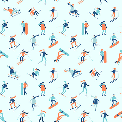 Snowboarding and skiing seamless pattern. Winter sport activities, young people on ski or snowboard vector background