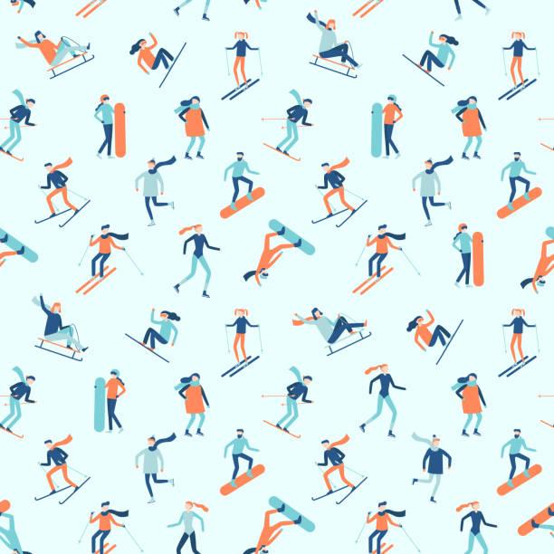 illustrazioni stock, clip art, cartoni animati e icone di tendenza di snowboarding and skiing seamless pattern. winter sport activities, young people on ski or snowboard vector background - ski