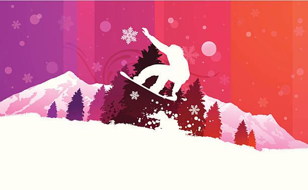 snowboarden im hintergrund - schneeflocke sonnenaufgang stock-grafiken, -clipart, -cartoons und -symbole