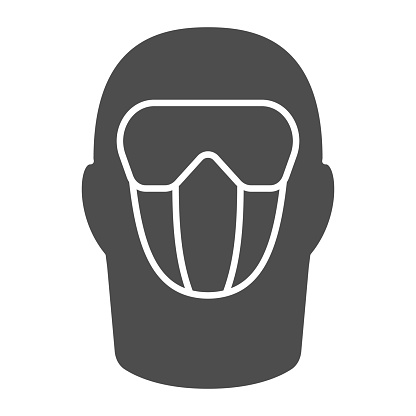 Snowboarding balaclava solid icon, World snowboard day concept, Winter wear for active lifestyle sign on white background, Balaclava ski mask icon in glyph style. Vector graphics.