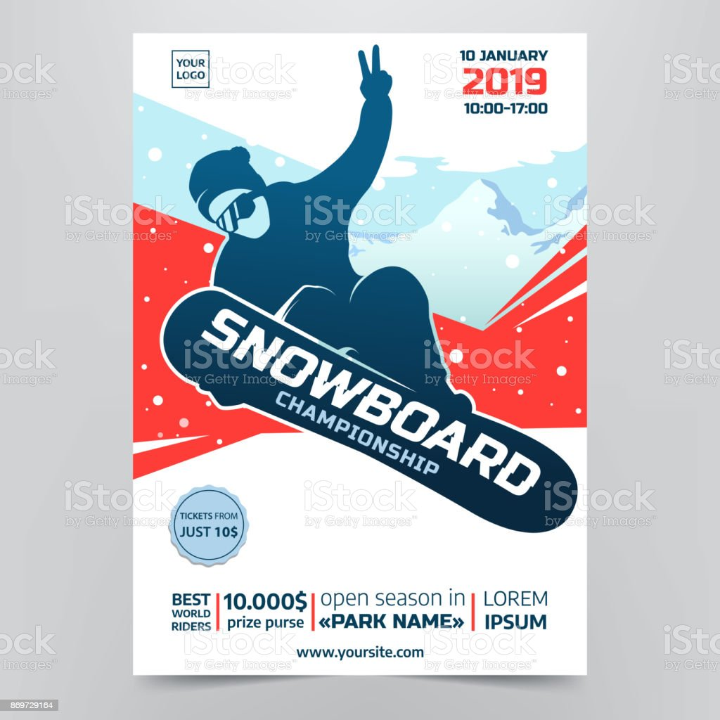 Snowboarding championship flyer concept. Contest poster with Snowboarder Silhouette on abstract winter background. Extreme winter sport. Applicable for invitation design, banners, flyers. Vector eps10 vector art illustration