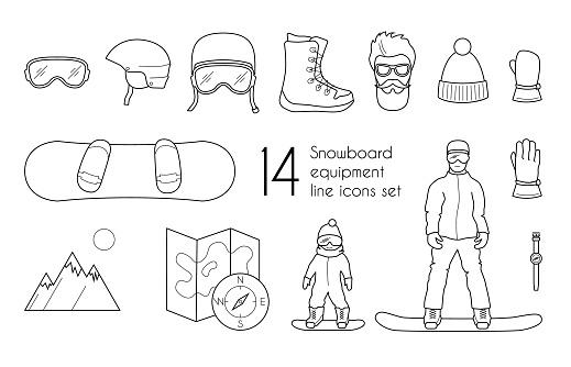 Snowboarding equipment line icons set