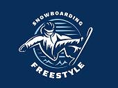 Snowboarding freestyle   - vector illustration, emblem design on blue background