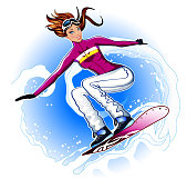 Girl flying on a snowboard in the snow avalanche.