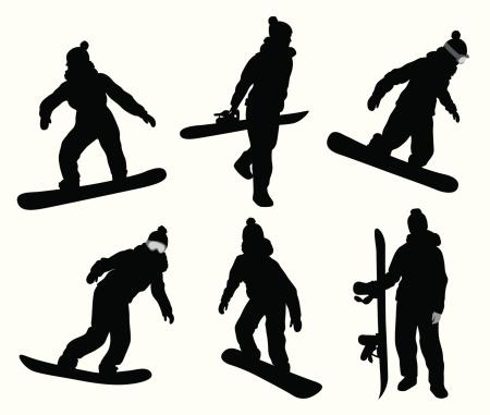 Snowboarding Girl Vector Silhouette