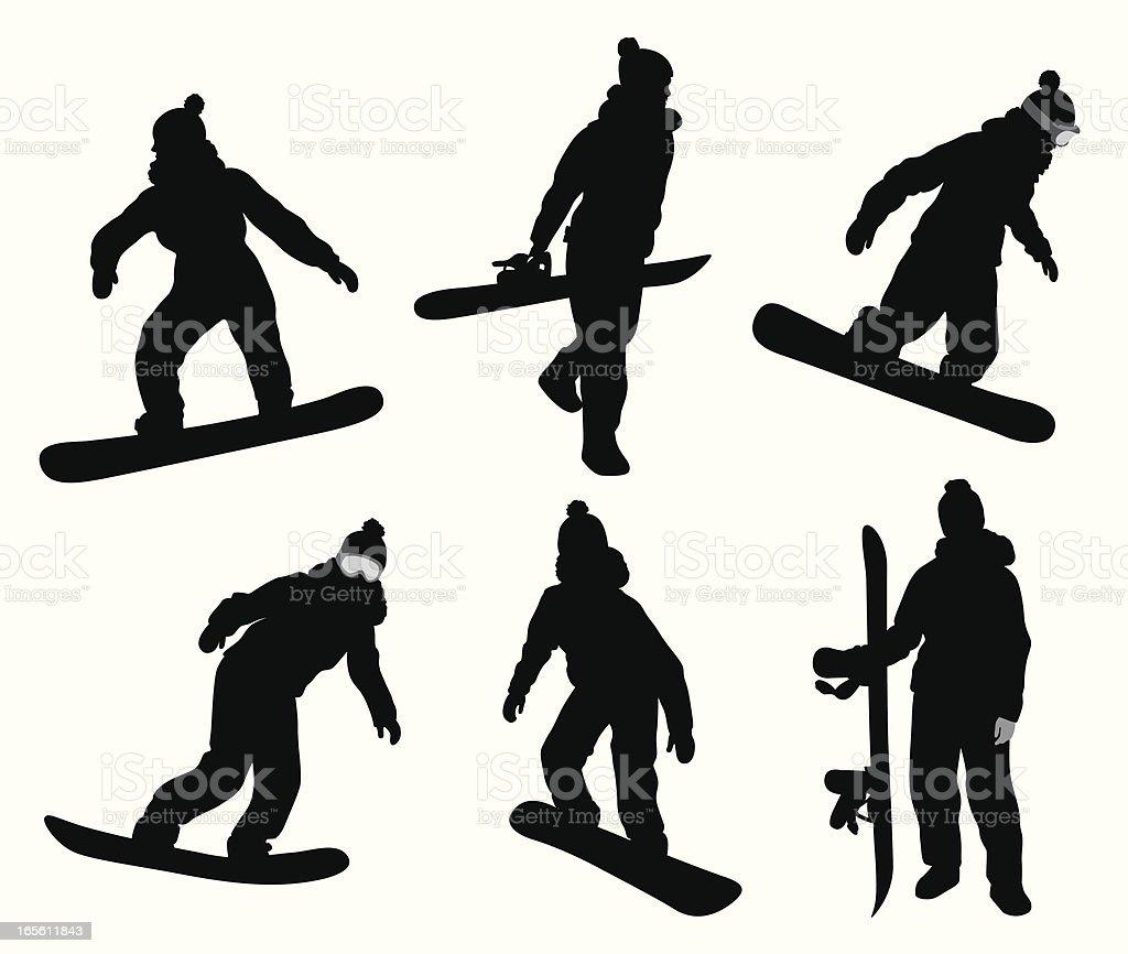 Snowboarding Girl Vector Silhouette vector art illustration