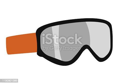 vector snowboarding goggles ,mask flat icon. Snowboard, ski winter activity equipment, tools object design.