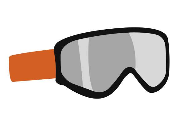 snowboardbrille, maske flaches symbol. snowboard, ski winter activity equipment, werkzeuge objektgestaltung. - schutzbrille stock-grafiken, -clipart, -cartoons und -symbole