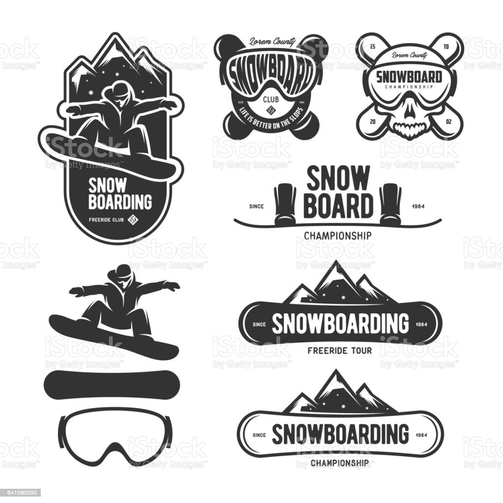 Snowboarding labels set. Winter sports emblems. Vector vintage illustration. vector art illustration