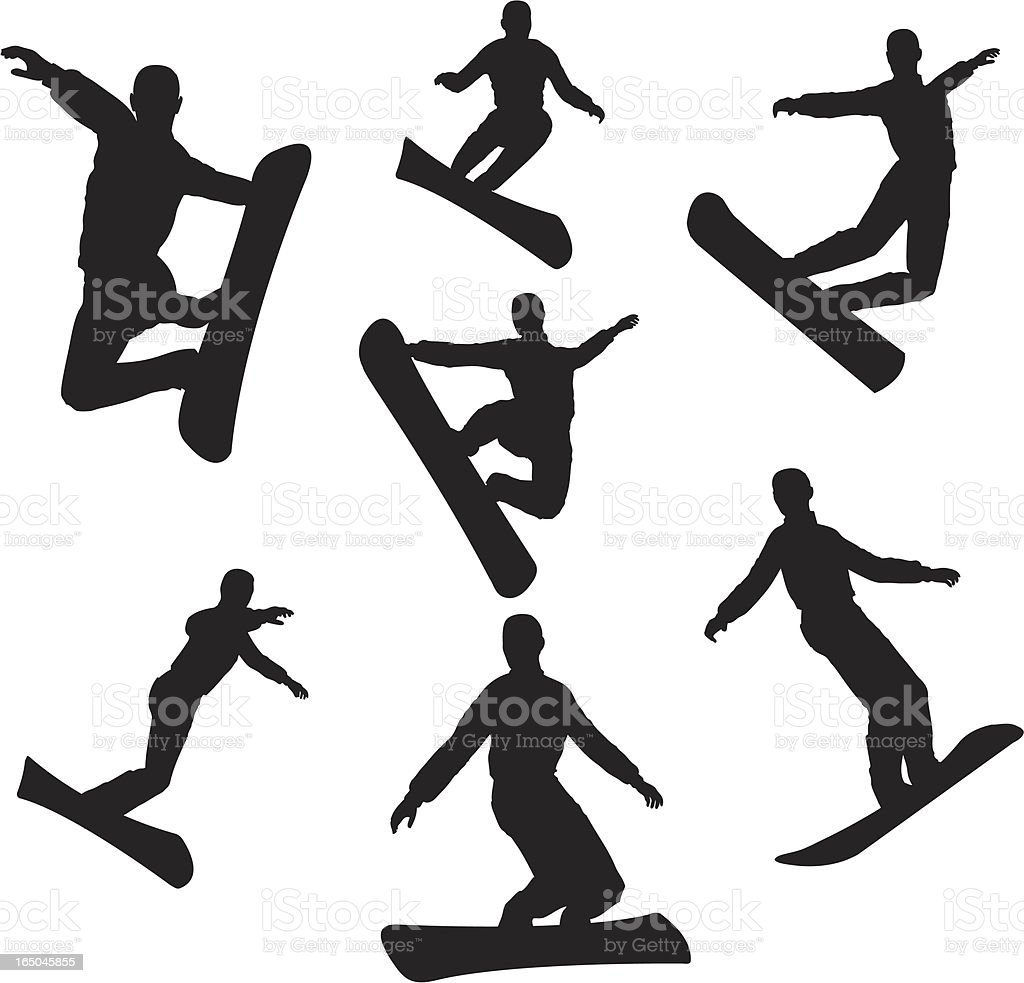 Snowboarding Silhouette Collection (vector+jpg) royalty-free snowboarding silhouette collection stock vector art & more images of activity