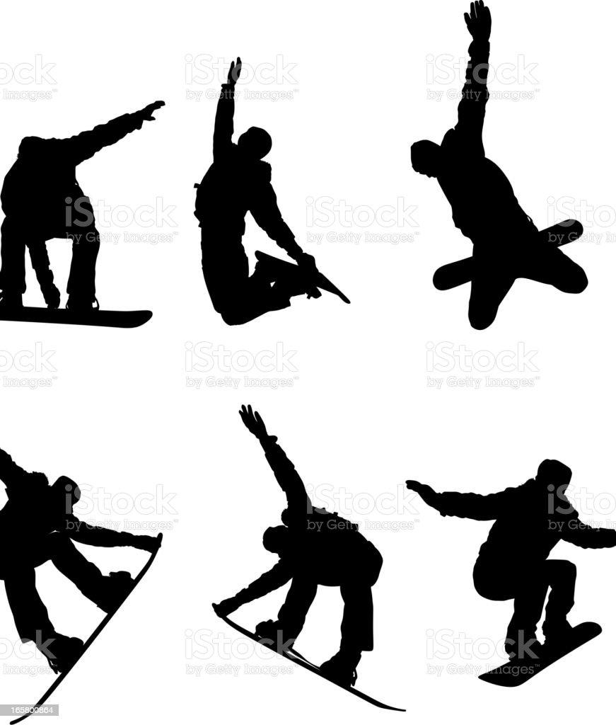 Snowboarding Silhouette vector art illustration