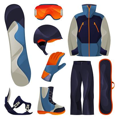 Snowboarding sport tools set, vector flat icons