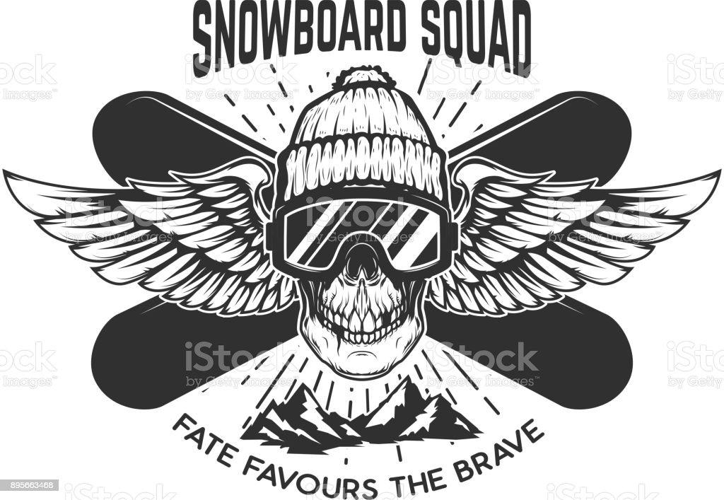 Snowboardkader Extreme Schädel Mit Snowboards Gestaltungselement Für ...