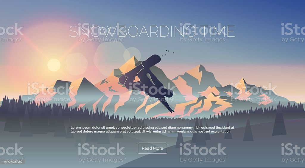 Snowboarding themed web banner. vector art illustration