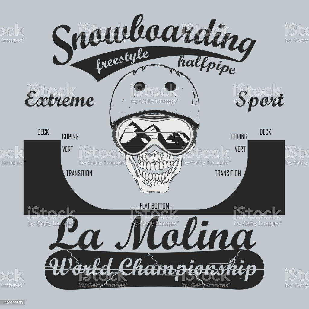 Snowboarding Half-Pipe, T-shirt fashion graphic, winter sport emblem,...