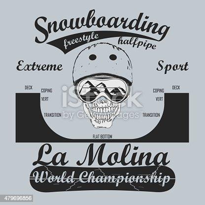 Snowboarding T-shirt, winter sport emblem, vector