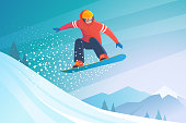 Vector illustration of jumping snowboarder in trendy flat style, isolated on snow mountains background.