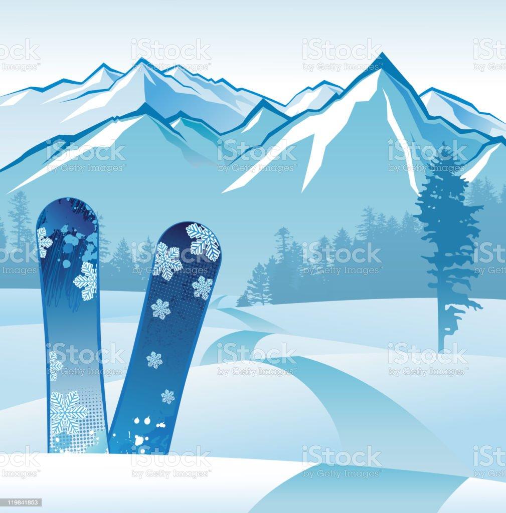snowboarding vector art illustration