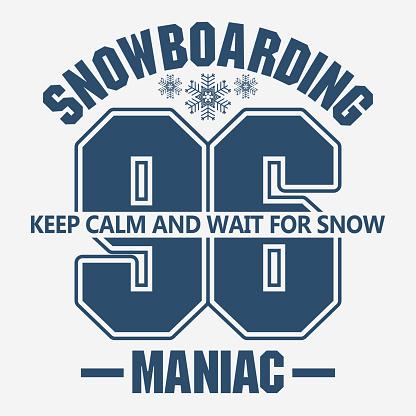 Snowboarding winter sport emblem, T-shirt fashion graphic, vector