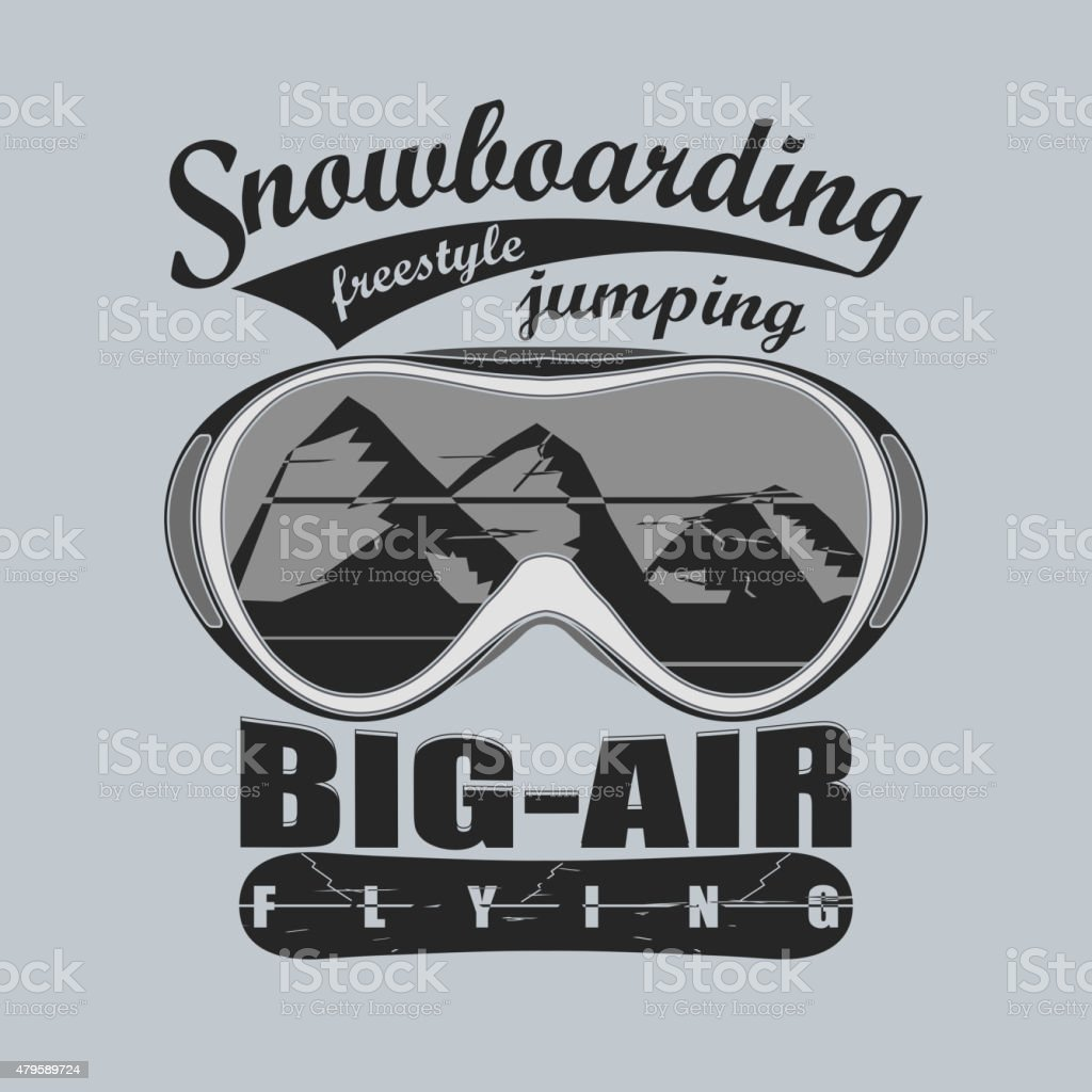 Snowboarding T-shirt fashion graphic, sport goggles emblem,...