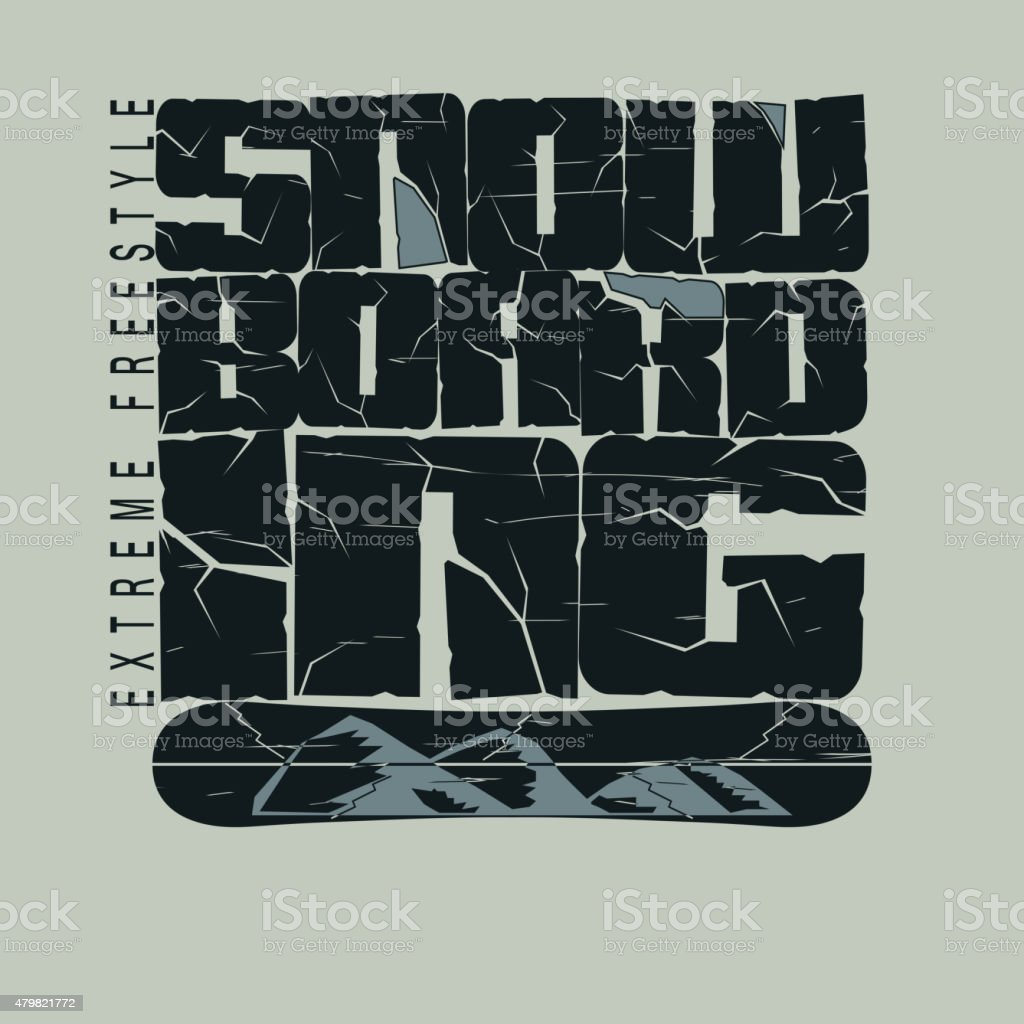 Snowboarding T-shirt fashion graphic, winter sport emblem, Typography...