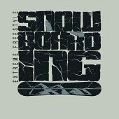 Snowboarding winter sport emblem, T-shirt - vector