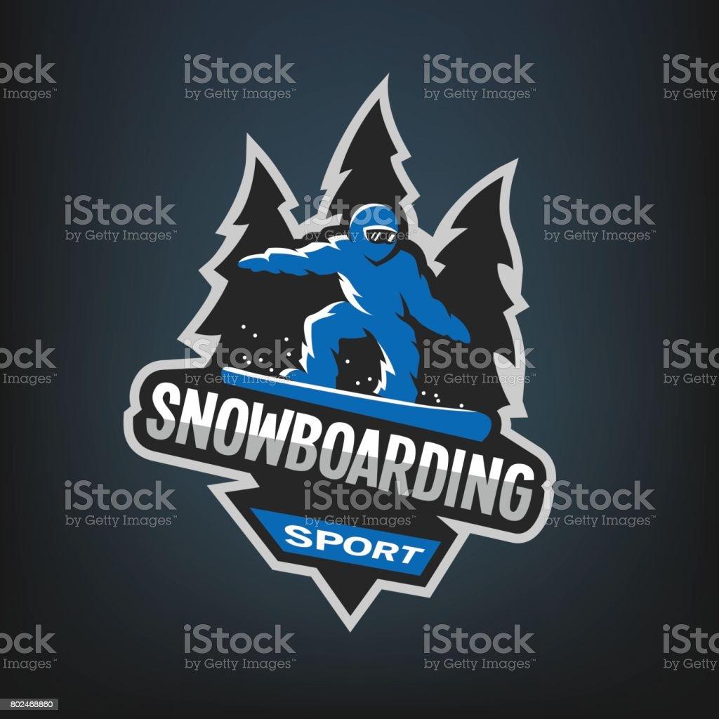 Snowboarding winter sports, emblem, on a dark background