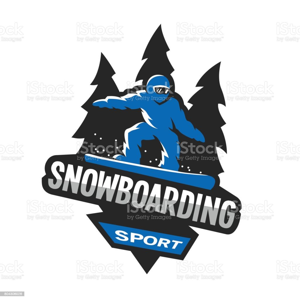 Snowboarding winter sports, symbol, emblem. vector art illustration