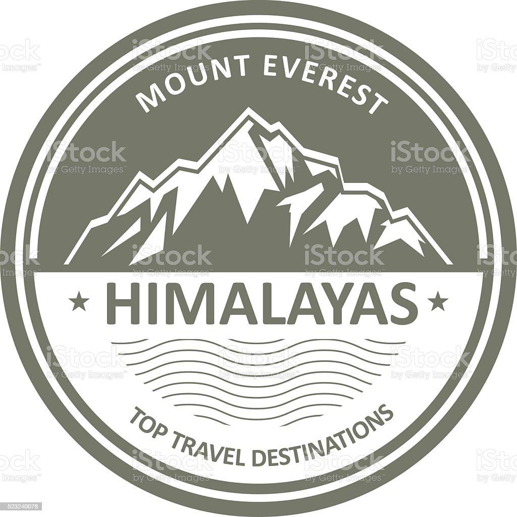 Snowbound mountain Himalayas - Everest label or stamp vector art illustration