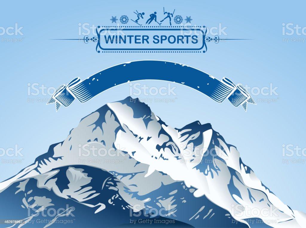 Snowcapped mountain for winter sports vector art illustration