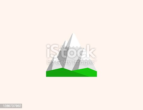 istock Snowcapped mountain vector icon. Isolated snow capped mountain peak flat colored symbol 1286737952
