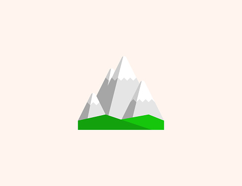 Snowcapped mountain vector icon. Isolated snow capped mountain peak flat colored symbol