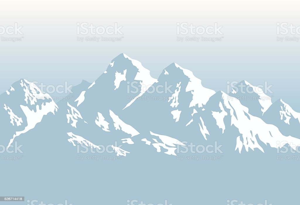 snowcapped mountains - background vector art illustration