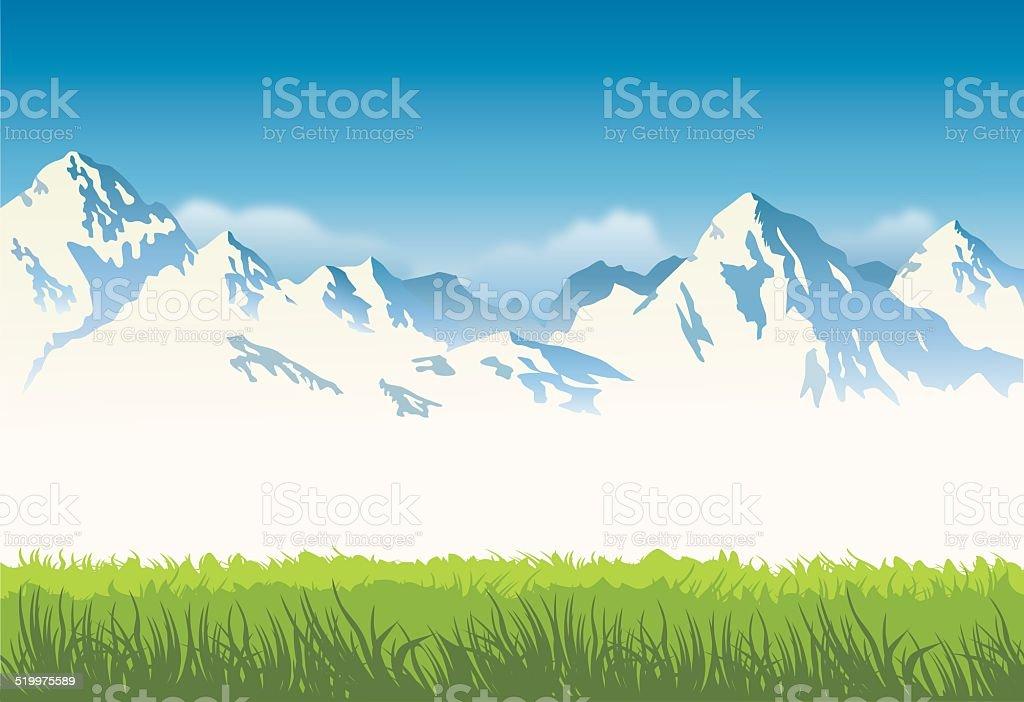 Schneebedeckte Berge mit Gras-Hintergrund – Vektorgrafik