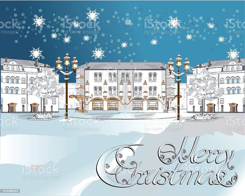 Snow-covered street. vector art illustration