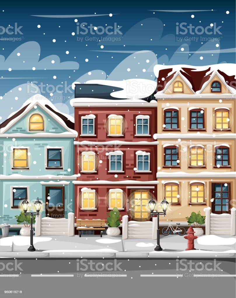schneebedeckte stra e mit bunten h user hydranten lichter bank und str ucher in vasen cartoon. Black Bedroom Furniture Sets. Home Design Ideas