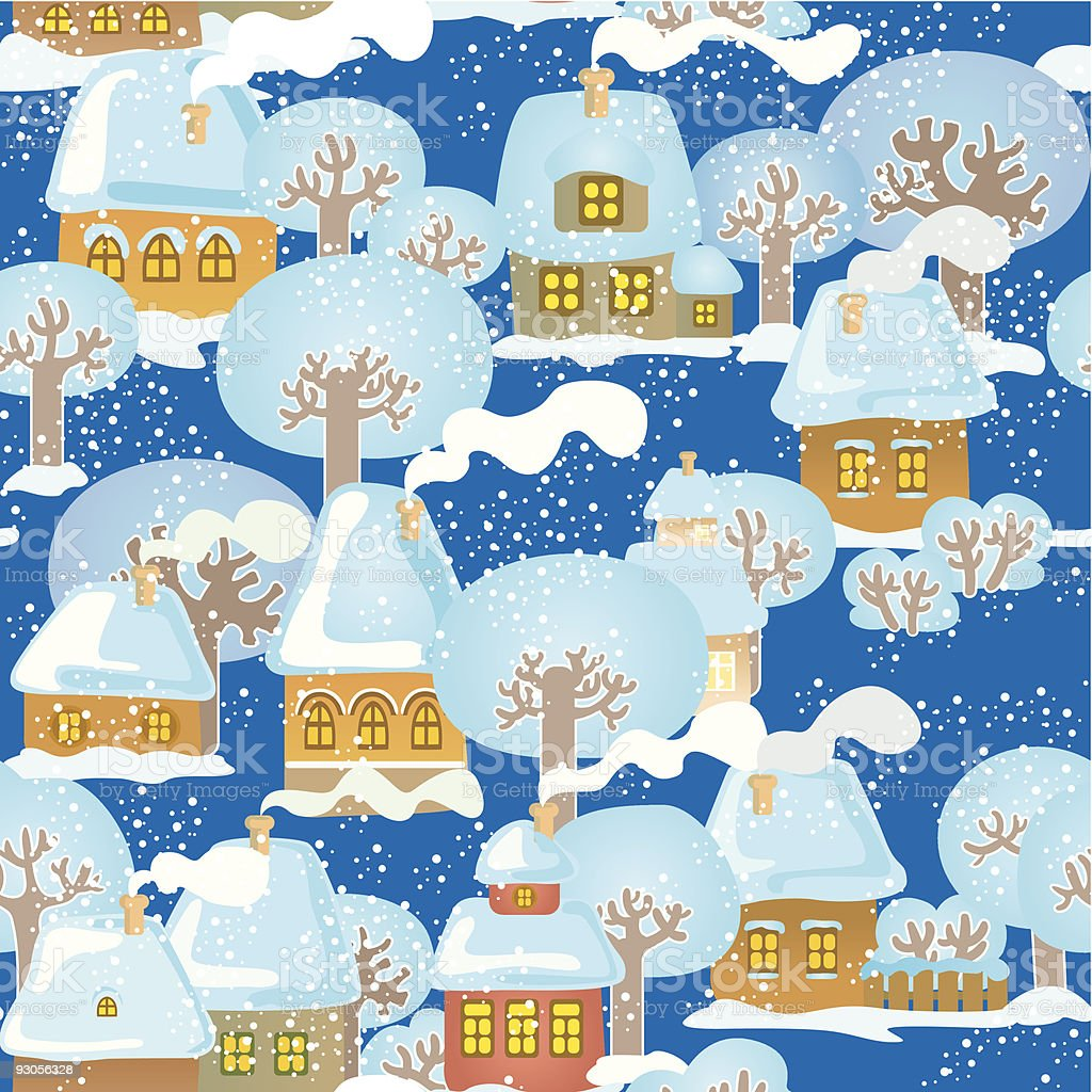 Snow-covered town royalty-free snowcovered town stock vector art & more images of architecture
