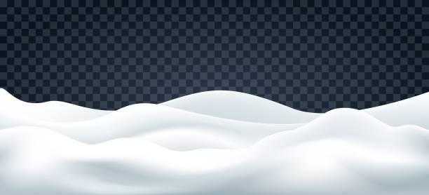 Snowdrifts on transparent backdrop Snowdrifts on transparent. Snow landscape decor, beauty snowdrift wallpaper, frozen hills with snowbanks texture, empty snowbank fields panorama, vector illustration snowdrift stock illustrations