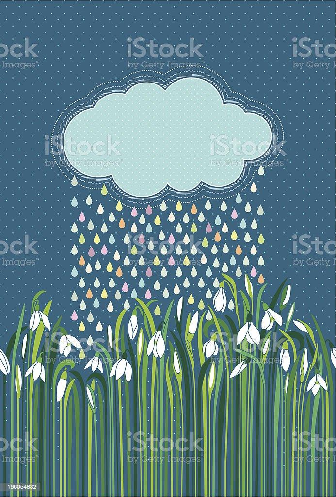 Snowdrops gentle colorful rain cloud deep blue sky