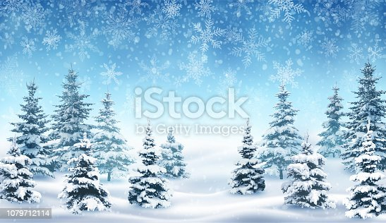 istock Snowfall and Winter Forest. 1079712114