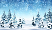Illustration of snowfall and forest, background for christmas and new year greeting cards, and invitations, and winter holiday season. EPS 10 contains transparency.