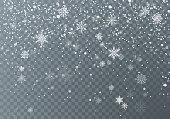 Snowfall. Christmas snow. Falling snowflakes on dark transparent background. Xmas holiday background. Vector illustration