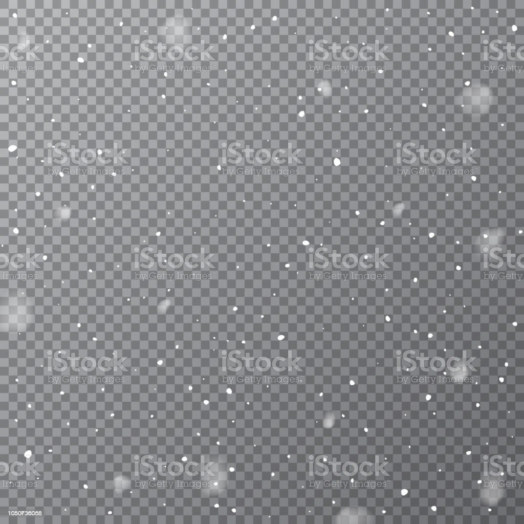 Nevicate isolate su sfondo trasparente. Modello di neve che cade vettoriale. - arte vettoriale royalty-free di 2019