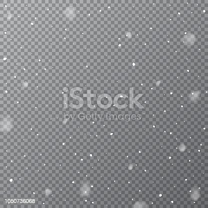 Snowfall isolated on transparent background. Vector falling snow template