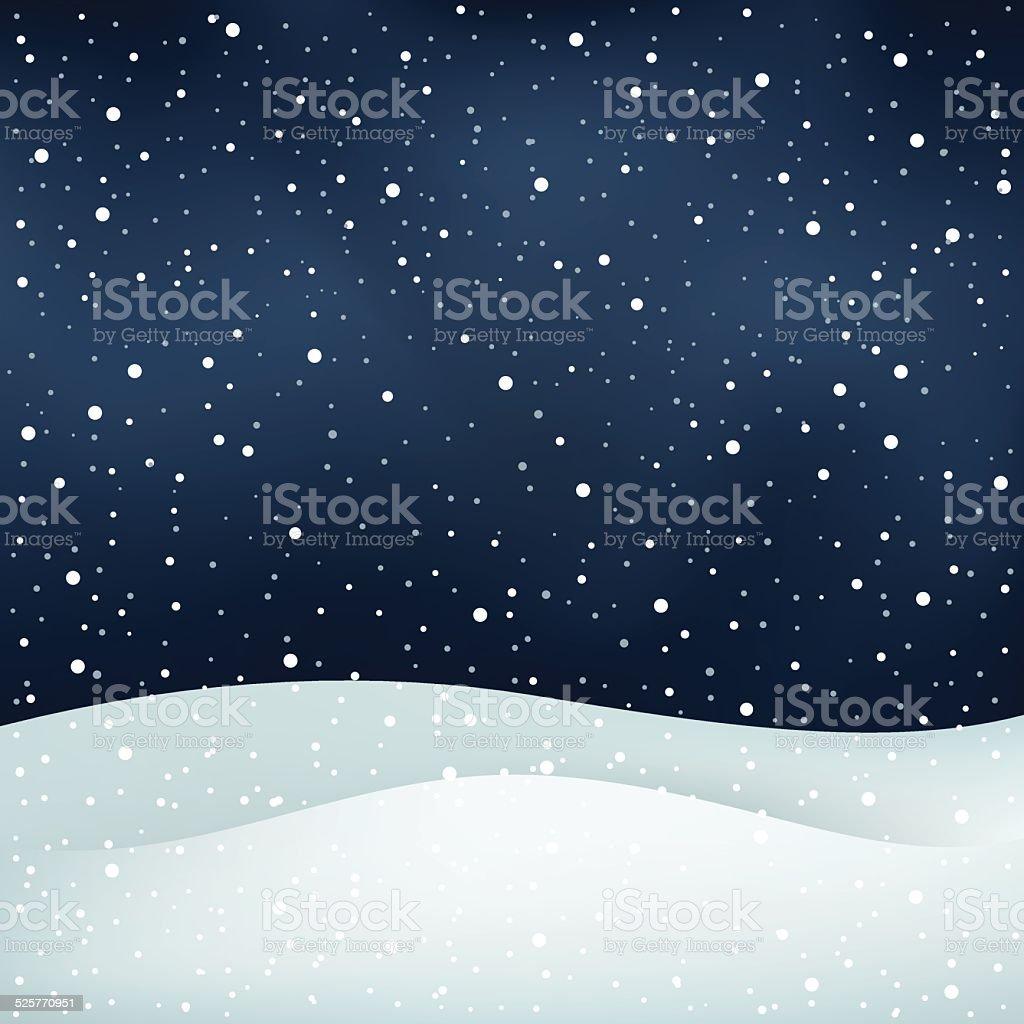 snowfall night background vector art illustration