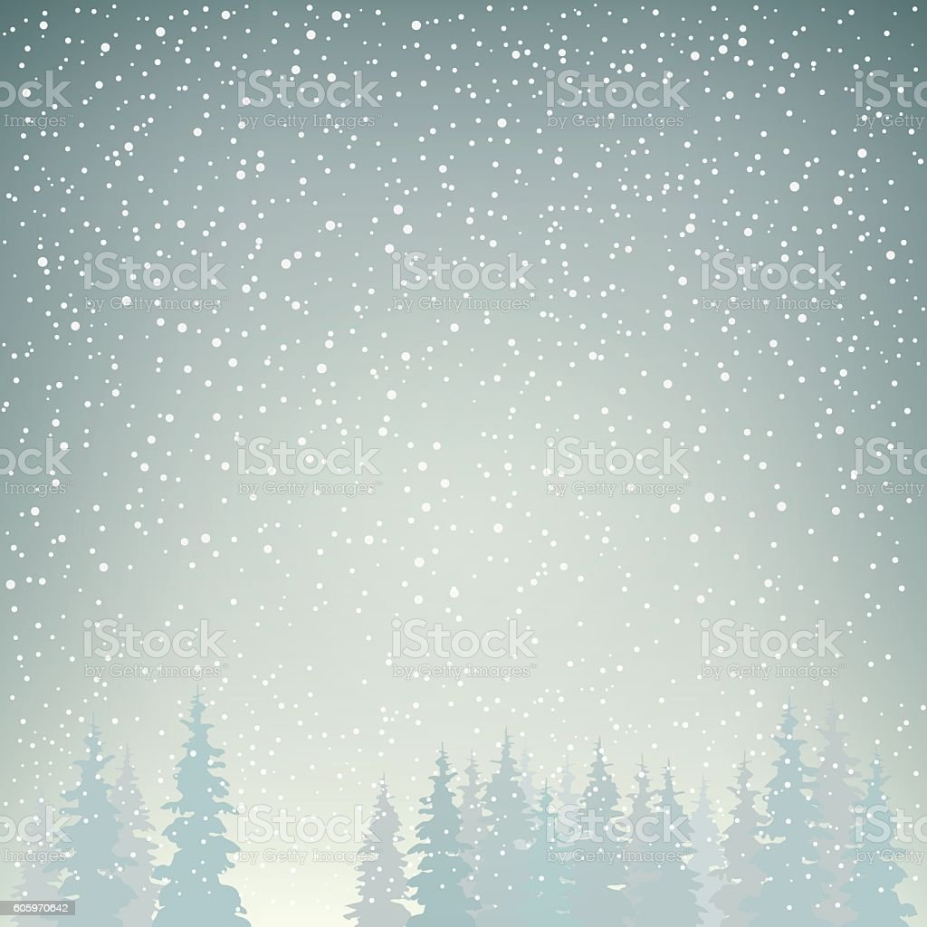 Snowfall, Snow Falls on the Spruces vector art illustration