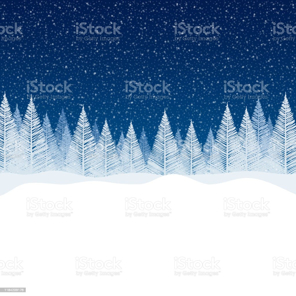 Nevicata - Tranquilla scena natalizia con spazio vuoto per il tuo messaggio. - arte vettoriale royalty-free di Abete