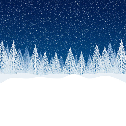 Snowfall - Tranquil Christmas scene with blank space for your message.