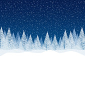 Snowfall - Tranquil Christmas scene with falling snow and fir trees. Empty - copy space in the bottom for your message.