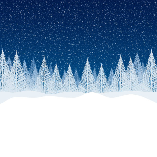 Snowfall - Tranquil Christmas scene with blank space for your message. Snowfall - Tranquil Christmas scene with falling snow and fir trees. Empty - copy space in the bottom for your message. christmas backgrounds stock illustrations